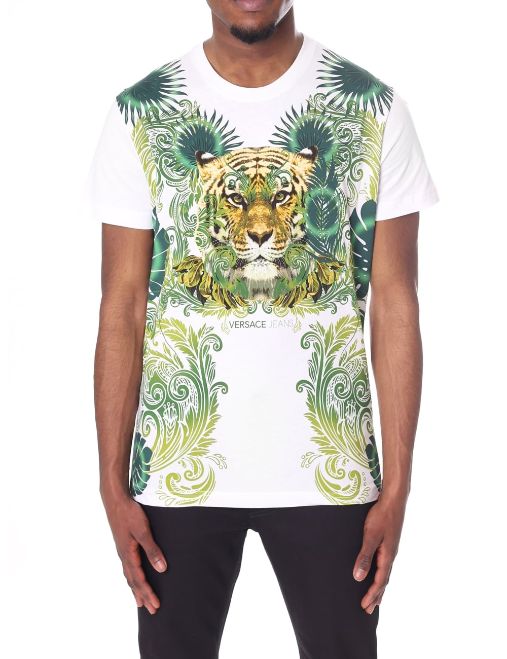 Versace Jeans Men's Tiger Print Crew Neck Short Sleeve Tee