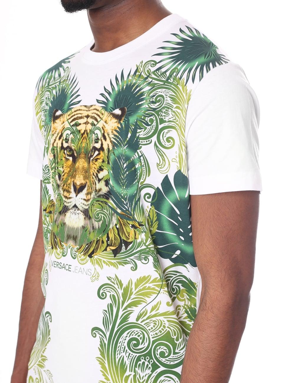 c3f4bb69c Men's Tiger Print Crew Neck Short Sleeve Tee