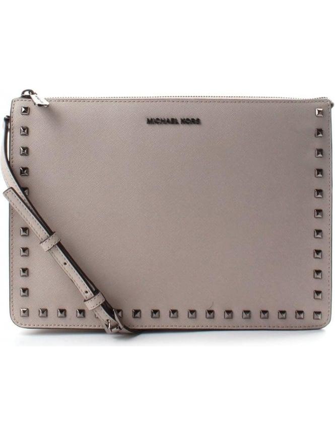 342b030a3b3e Michael Kors Ava Large Convertible Women's Stud Pouch Bag Cement