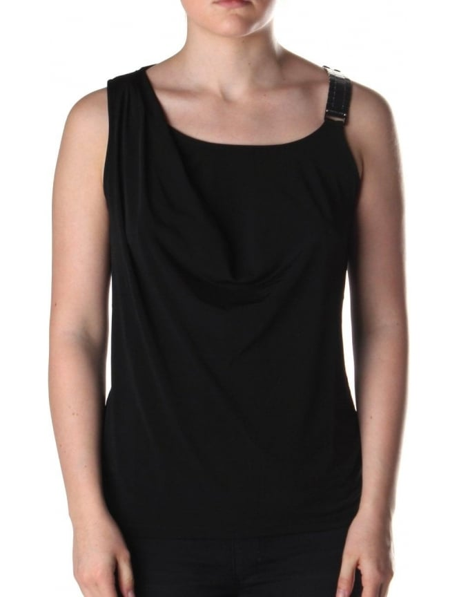 Michael Kors Chainstrap Women's Drape Top Black