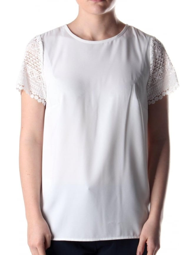 Michael Kors Crochet Women's Pleated Top White