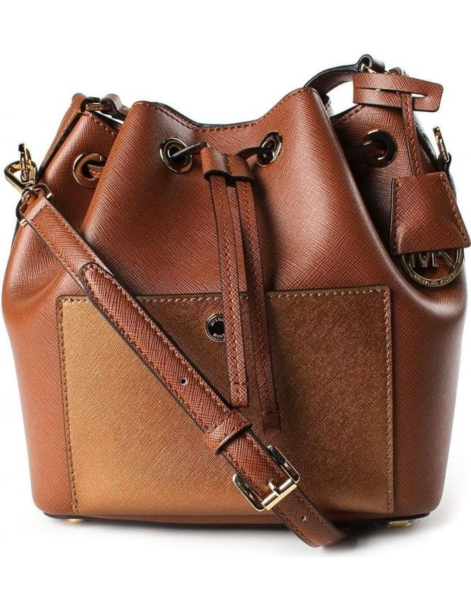 Michael Kors Greenwich Women s Medium Bucket Bag Brown d2355f3ad113b