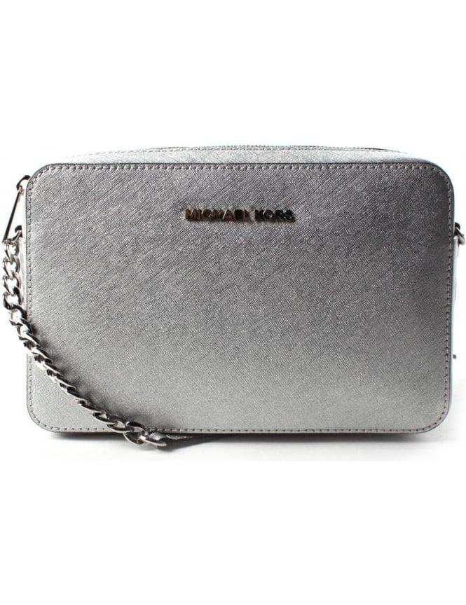 66d30fa9e0f7 Michael Kors Jet Set Travel Large Women s Crossbody Silver