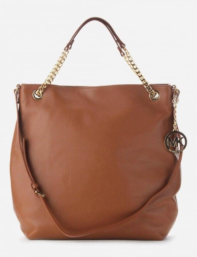 be9ca616dffb2f Michael Kors LG Chain Women's Tote Bag Tan