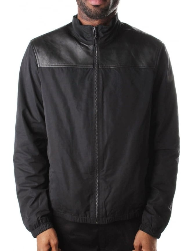 Michael Kors Men's Leather Nylon Mix Jacket Black