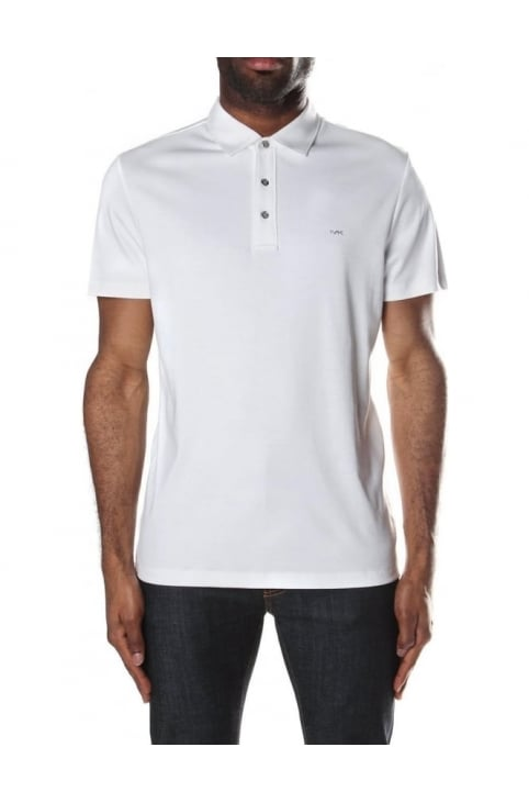 Men's Sleek MK Short Sleeve Polo Top White