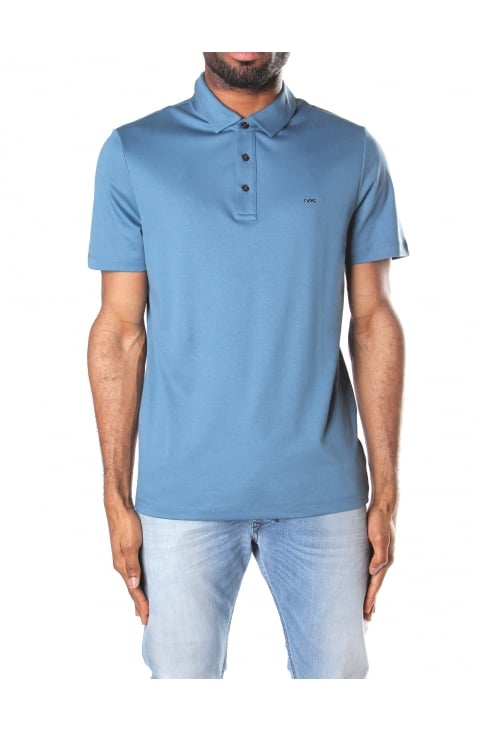 Men's Sleek MK Short Sleeve Polo Top Shadow Blue