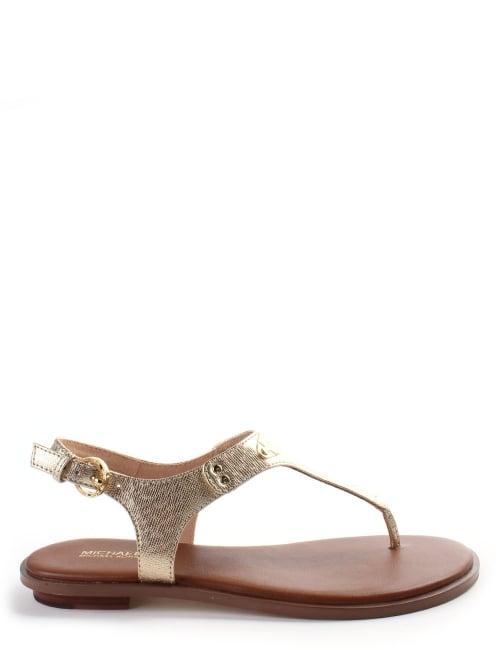 94bb451ed93 Michael Kors MK Plate Women s Thong Sandal Gold