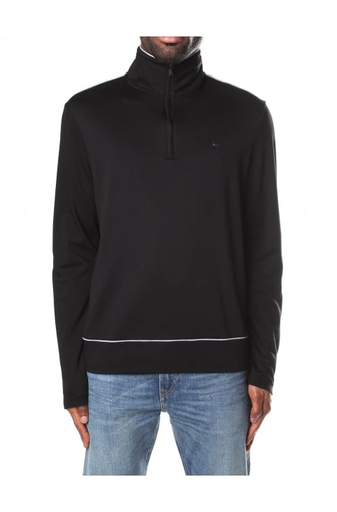 Piping Detail Men's Half Zip Top Black