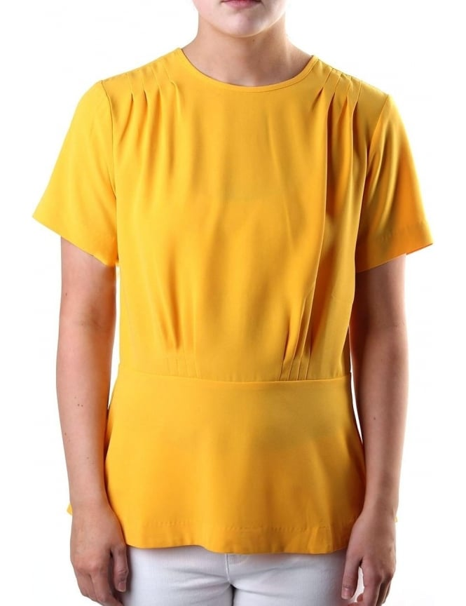 Michael Kors Pleated Women's Short Sleeve Ailine Top Yellow