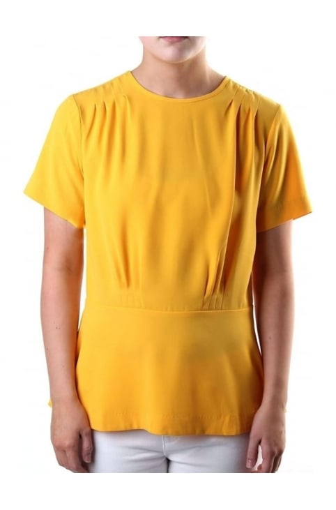 Pleated Women's Short Sleeve Ailine Top Yellow