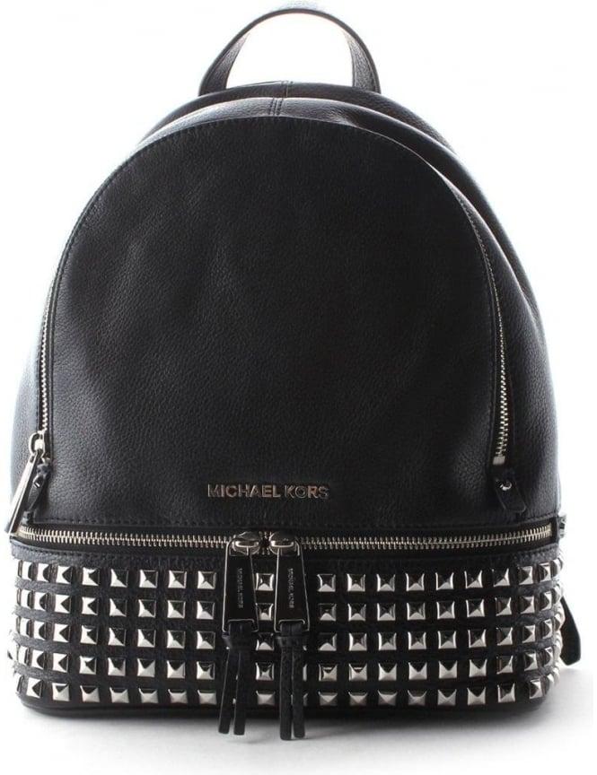34733576d2fb Michael Kors Rhea Women s Zipped Small Studded Backpack Black