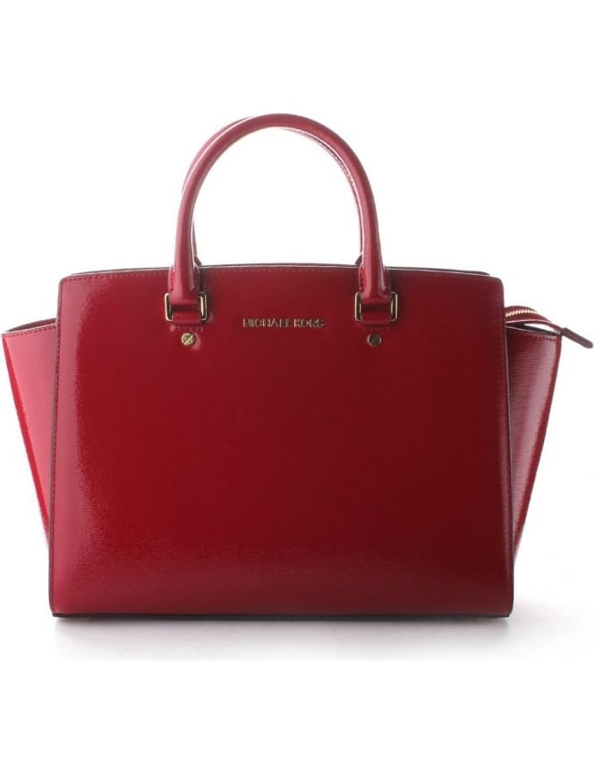 a1bcf7fe9e52e7 Michael Kors Selma Large Women's Satchel Bag Dark Red