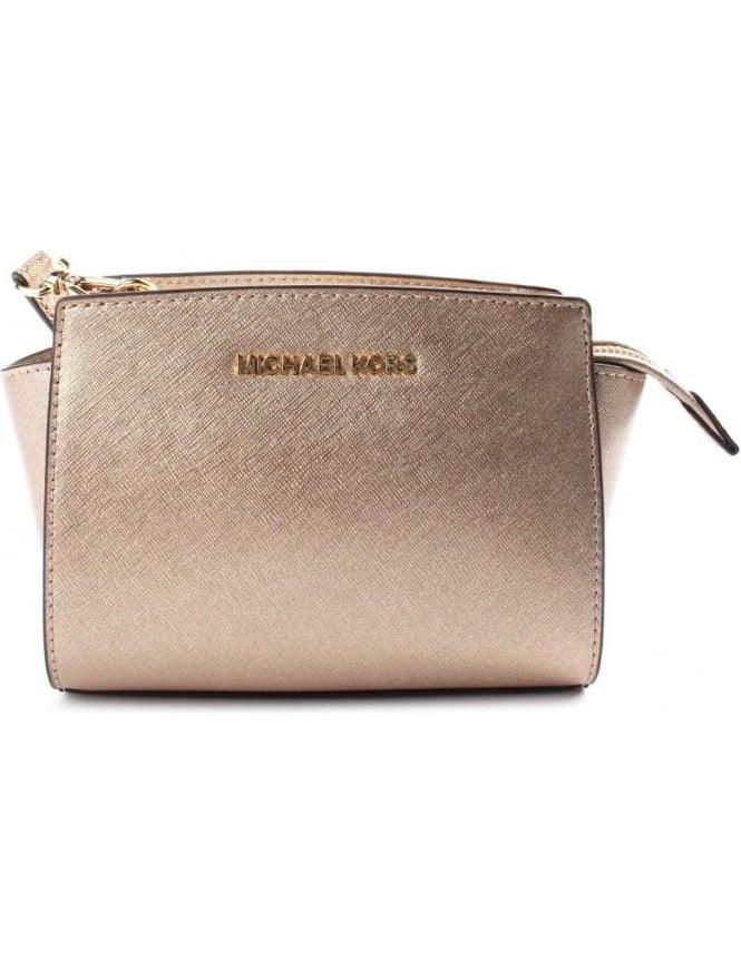 aaee5601c40b Michael Kors Selma Women's Mini Messenger Bag Gold