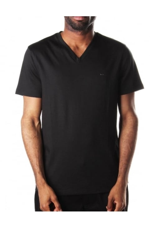 Short Sleeves Men's V Neck T-Shirt Black
