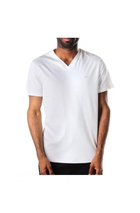 Short Sleeves Men's V Neck T-Shirt White