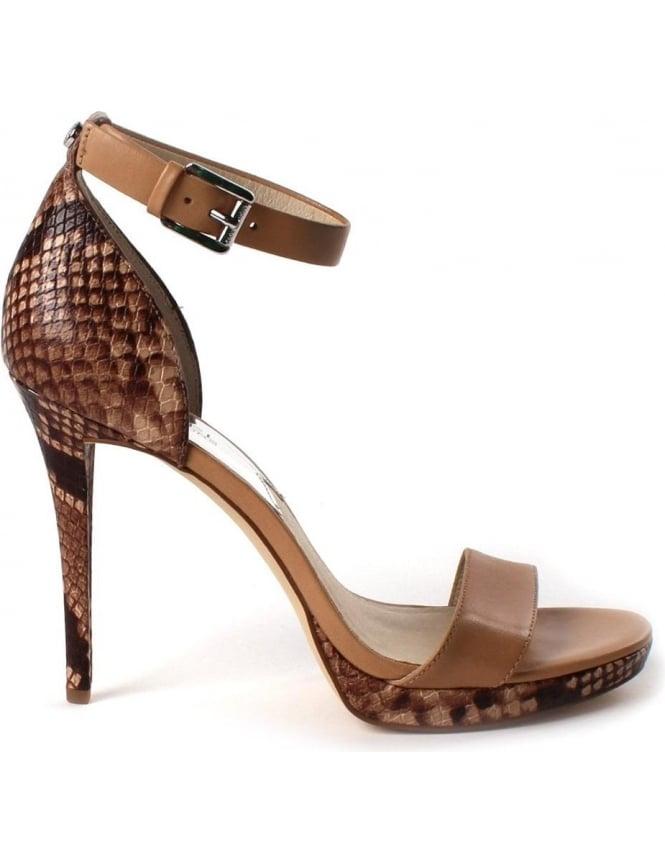 Snake Skin Heeled Sandals Dark Khaki