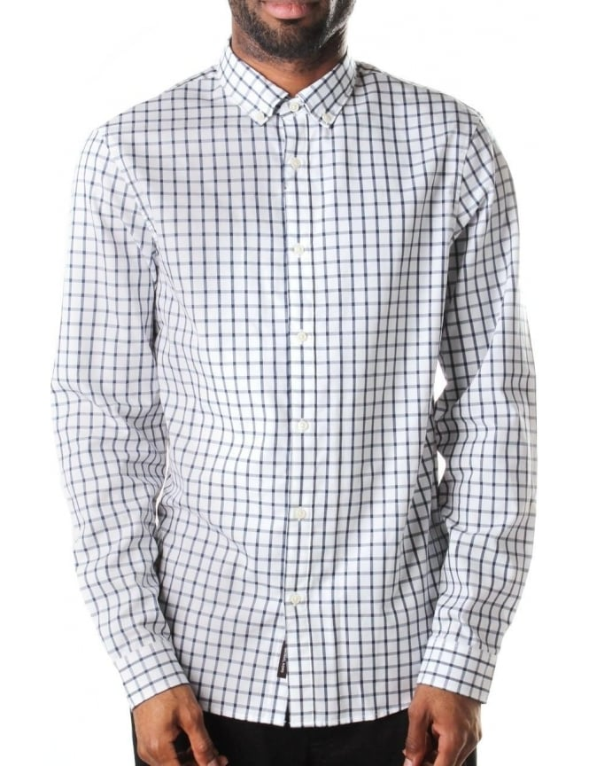 Michael Kors Slim Fit Men's Modern Checked Shirt White