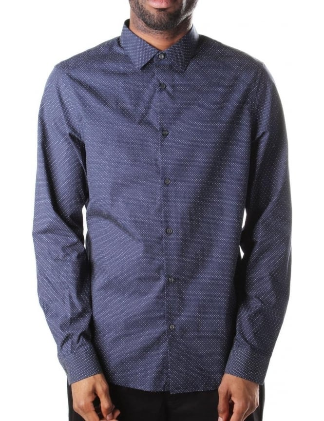 Michael Kors Slim Fit Men's Pin Dot Print Shirt Midnight