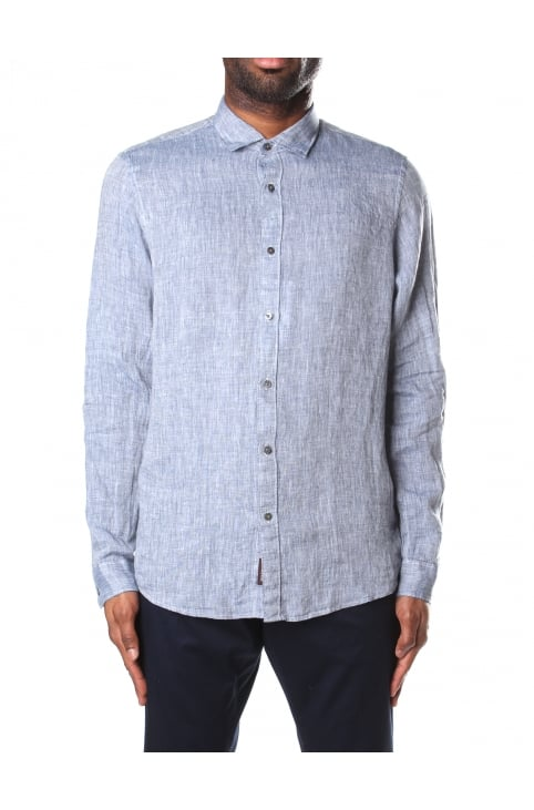 Slim Fit Men's Solid Linen Shirt Denim