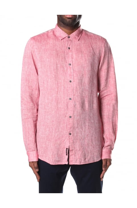 Slim Fit Men's Solid Linen Shirt Nantucket Red
