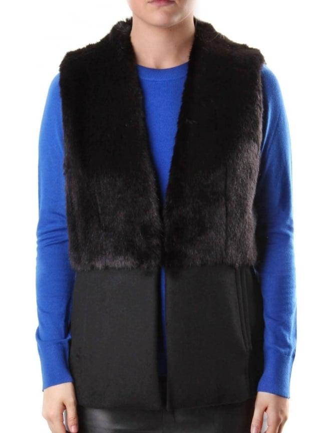 Michael Kors Women's Fitted Faux Fur Vest Black