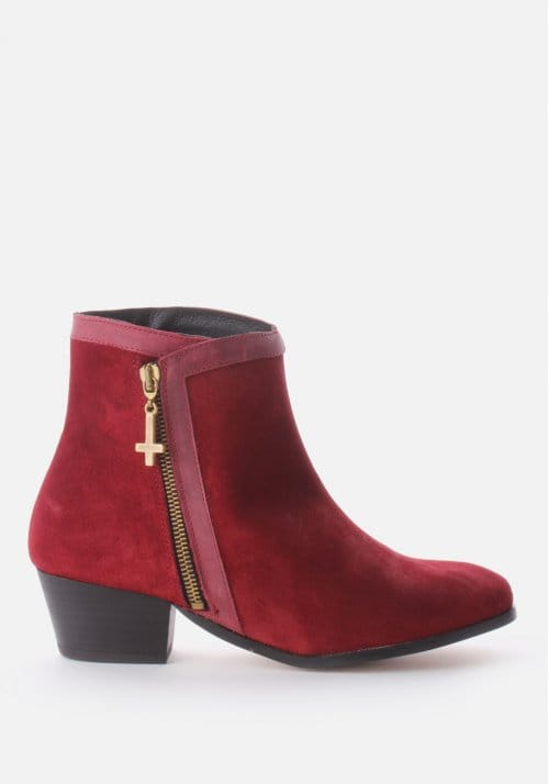 Una Suede Women S Ankle Boot Burgundy