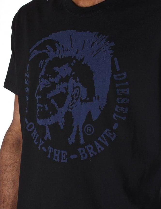466d1f90a Diesel Mohawk Logo Print Short Sleeve Men's T-Shirt Black