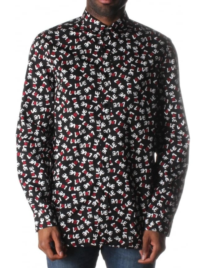 Moschino All Over Love Men's Print Shirt Black