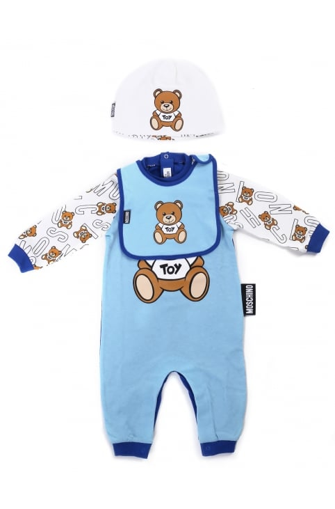 Baby Boy Babygrow Bib & Hat Set