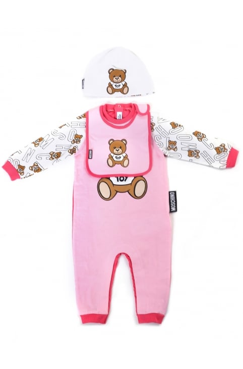 Baby Girl Babygrow Bib & Hat Set