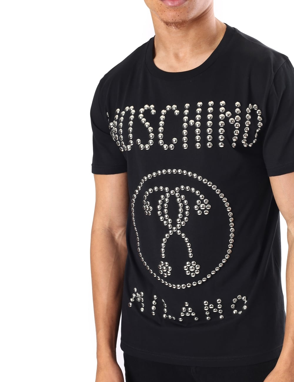 50dbf79884c Love Moschino Men s Studded Crew Neck Short Sleeve Tee
