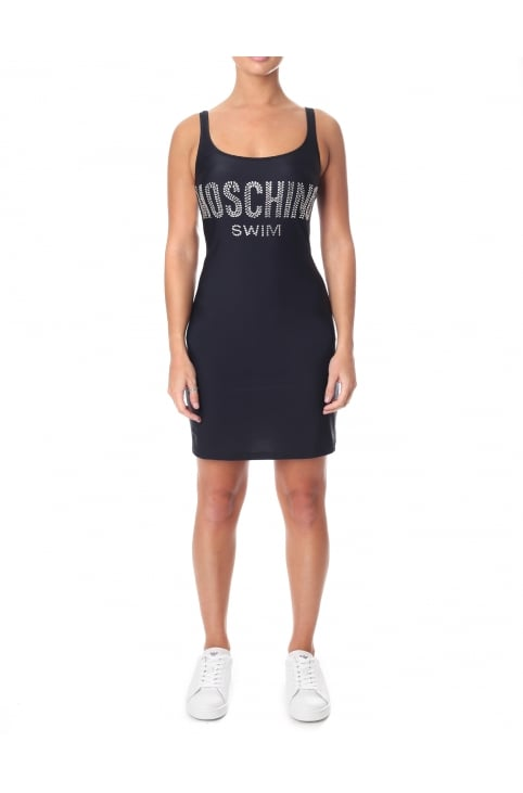 Diamante Logo Swim Dress