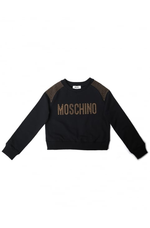 Girls Studded Logo Cropped Sweat Top