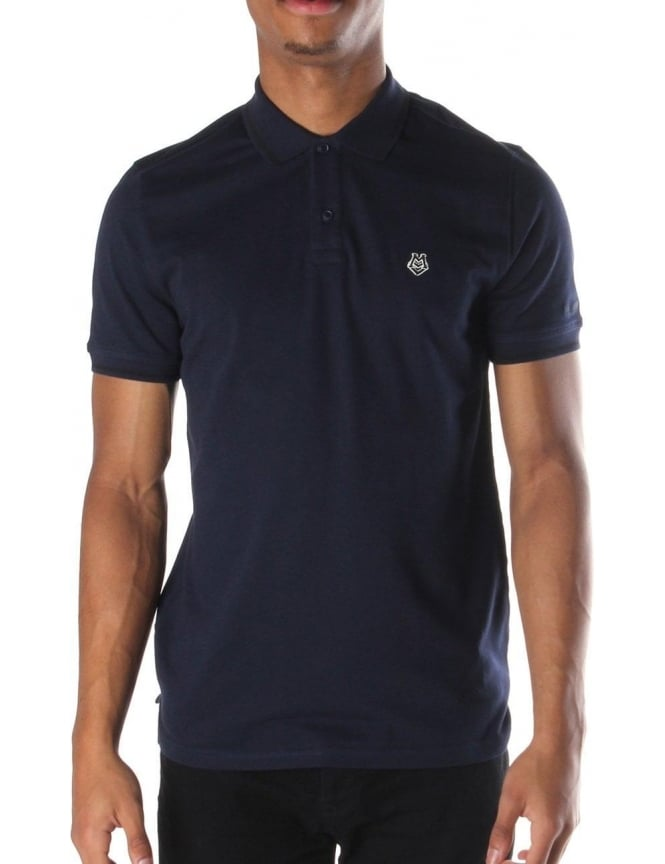 Moschino Heart Badge Men's Polo Top Navy