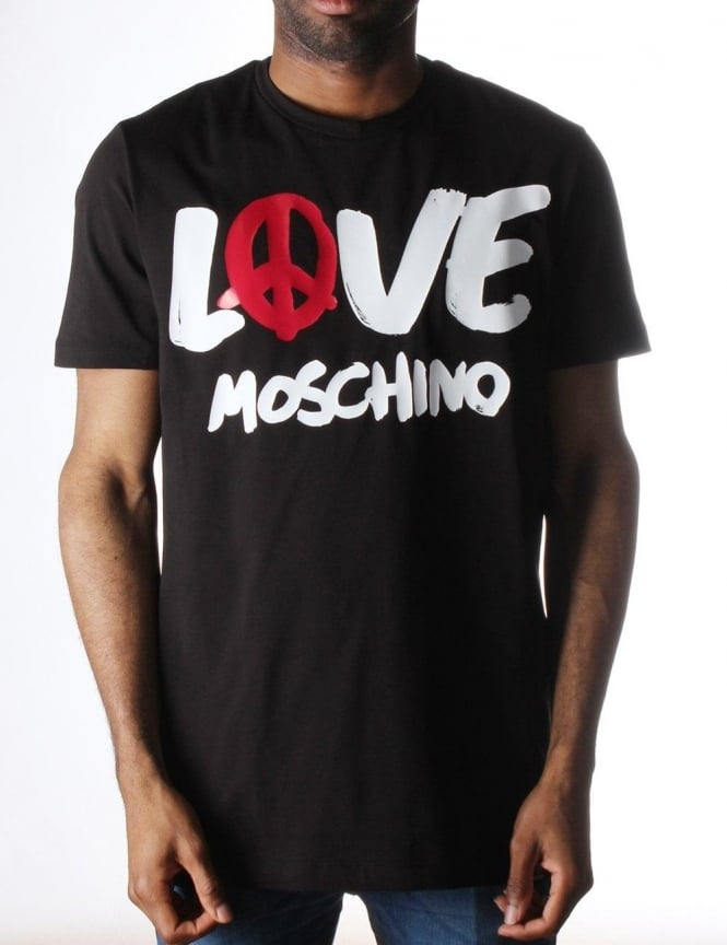 moschino love moschino men 39 s print t shirt black. Black Bedroom Furniture Sets. Home Design Ideas