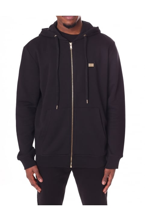 Men's Logo Badge Zip Through Hooded Sweat