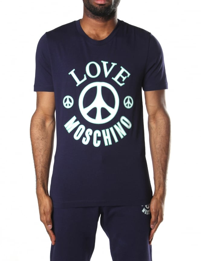Moschino Men's Slim Fit Peace Logo Tee