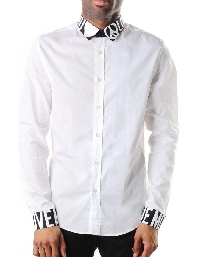 Moschino printed collar cuff men 39 s shirt white for Mens white cufflink shirts