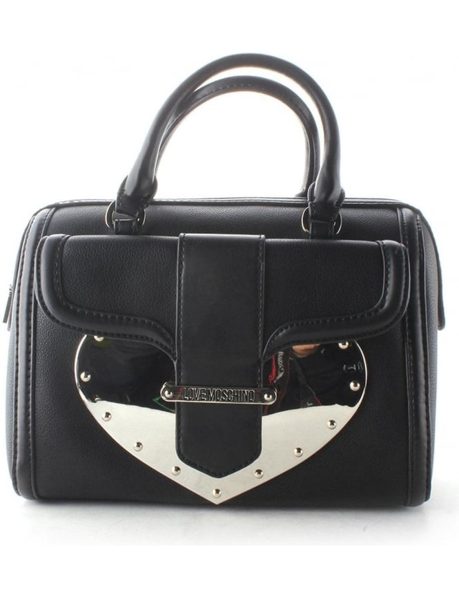 Moschino Stud Heart Women's Barrel Bag Black