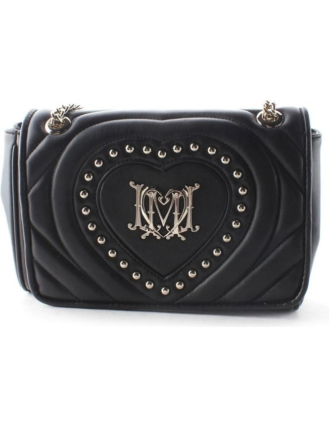 Moschino Stud Heart Womens Quilted Chain Bag Black