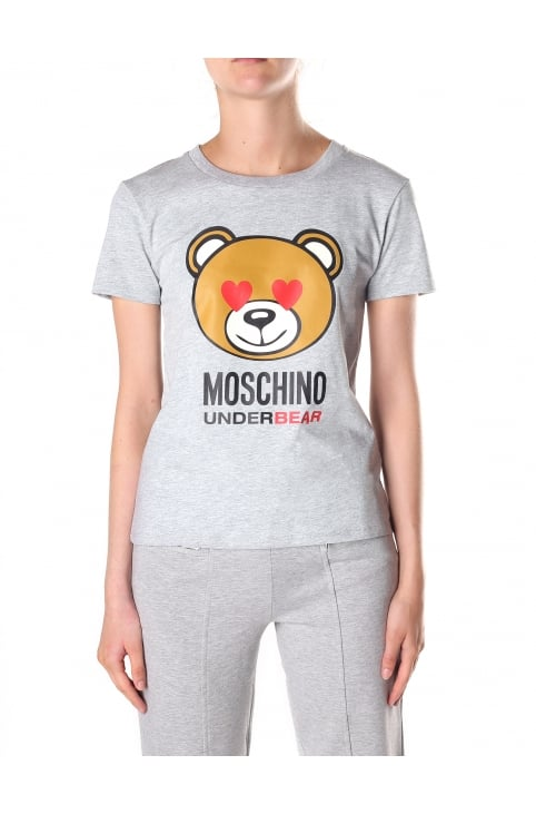 Women's Bear Print Crew Neck Short Sleeve Tee