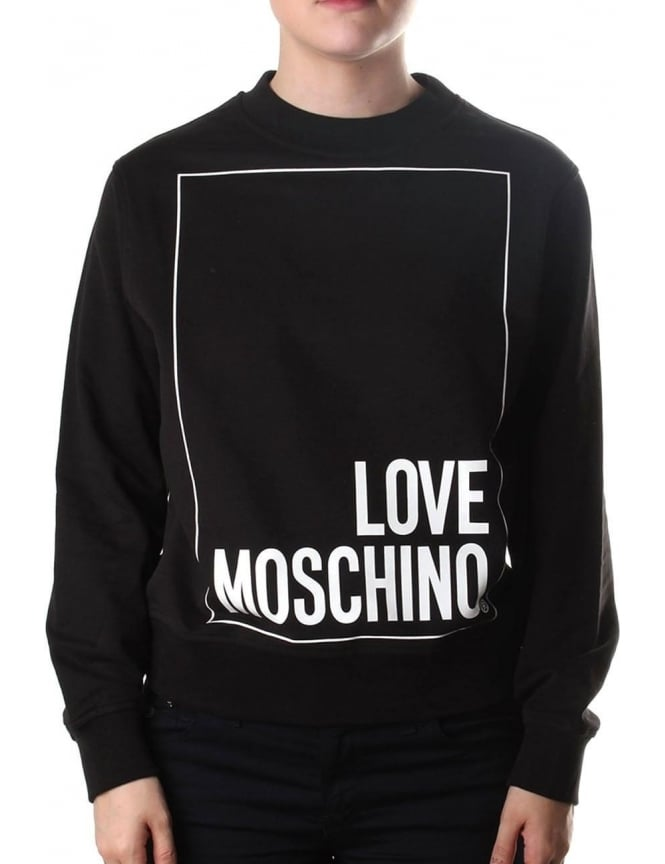 Moschino Women's Box Logo Crew Neck Sweat Top