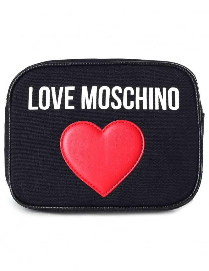 Moschino Women's Canvas Logo Heart Cross Body Bag