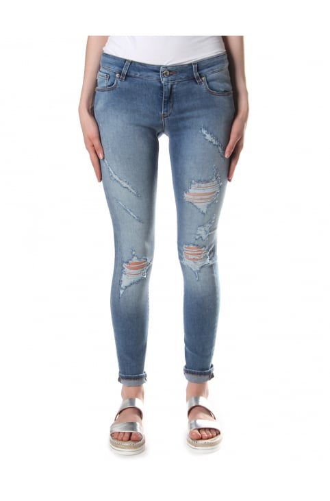Women's Distressed Skinny Fit Jeans