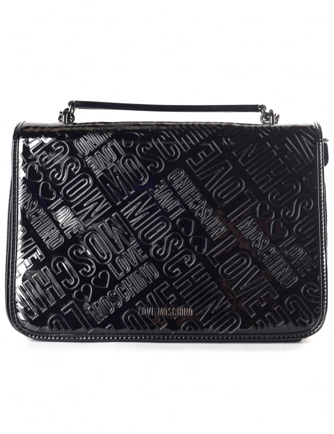 Moschino Women's Embossed Patent Shoulder Bag