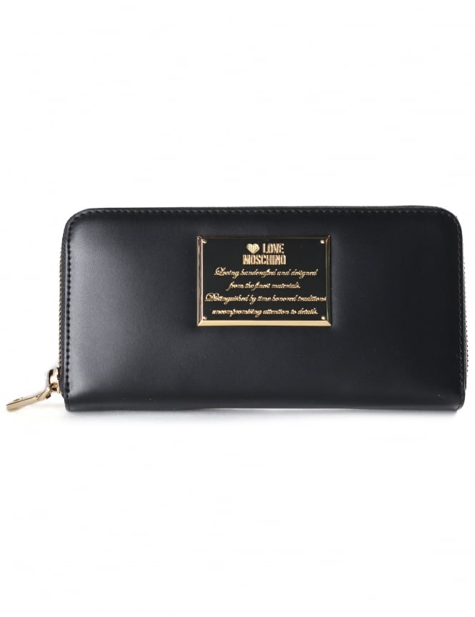 Moschino Women's Engraved Plaque Zip Around Purse