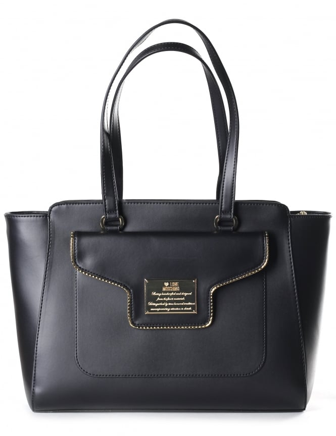 Moschino Women's Engraved Plaquet Detail Tote Bag