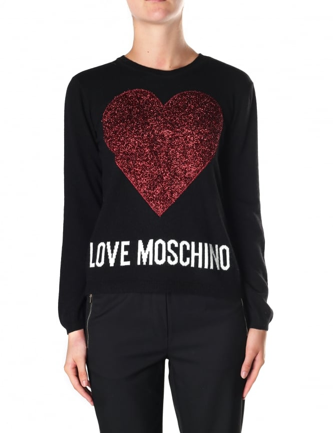 Moschino Women's Heart Crew Neck Pullover Knit