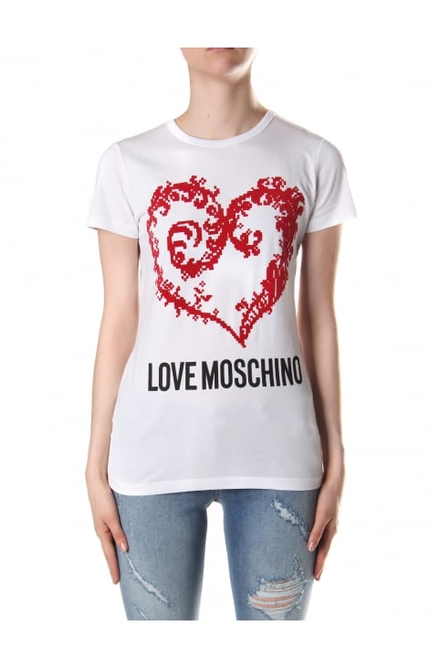 Women's Heart Print Short Sleeve Tee